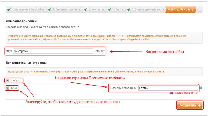 Пример заполнения полей: Шаг 6 - Настройки сайта (имя сайта, форум, блог)